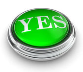 Yes word on green button — Stock Photo