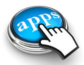 Apps blue button and pointer hand — Stock Photo