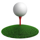 Golf ball and red tee on green grass disc — Stock Photo