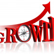 Growth red word with compass and arrow — Stock Photo #21468149