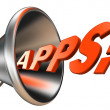 Apps orange word in bullhorn — Stockfoto