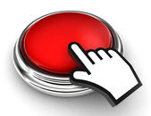 Empty red button and pointer hand — Stock Photo