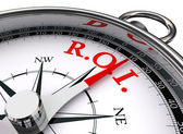 Roi red word on concept compass — Stock Photo