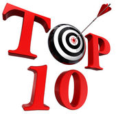 Top ten red word with target and arrow — Stock Photo