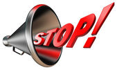 Stop red word in bullhorn — Stock Photo