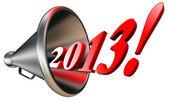 New year 2013 in megaphone — Stock Photo