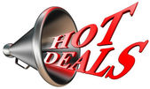 Hot deals red word in megaphone — Stock Photo