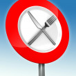 Diet road sign with metal fork and knife — Stock Photo