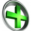 Green health cross in round metal frame — Stock Photo