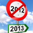New year road sign red and green — Stock Photo