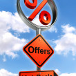 Offers road sign with discount symbol  — Stok fotoğraf