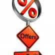 Offers road sign with discount symbol — Stock Photo