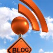 Blog sign orange black with rss symbol — Stock Photo