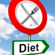 Diet red and green road sign with fork and knife — Stock Photo