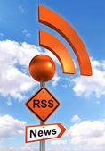 Rss road orange sign — Stock Photo