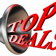 Top deals red word in megaphone — Stock Photo