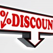 Discount sign with arrow down and per cent symbol — Stock Photo #25575539