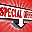 Special offer sign with arrow down — Stock Photo