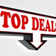 Top deals red and black arrow sign — Stock Photo