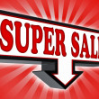 Stock Photo: Super sale pricetag sign with arrow