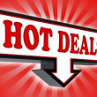 Stock Photo: Hot deals money red and black arrow sign
