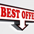 Best offer red and black arrow sign — Stock Photo
