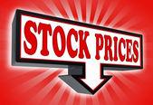 Stock prices pricetag sign — Stock Photo