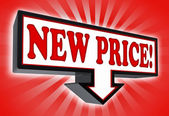 New price sign with arrow — Stock Photo
