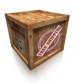 Wooden box crate with free shipping sign — Stock Photo