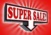 Super sale pricetag sign with arrow — Stock Photo