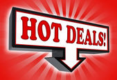Hot deals money red and black arrow sign — Stock Photo