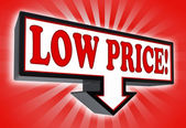 Low price sign with arrow down red and black — Stock Photo