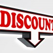 Discount sign with arrow — Stock Photo