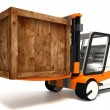 Fork lifter transporting wooden crate — Stock Photo #25582433
