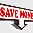 Save money red and black arrow sign — Stock Photo #25582699