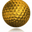 Golden golf ball on white background — Stock Photo