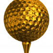 Golf ball gold on tee — Stock Photo