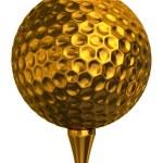 ������, ������: Golf ball gold on tee