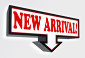 New arrival red and black arrow sign — Stock Photo