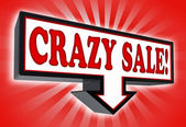 Crazy sale money red and black arrow sign — Stock Photo
