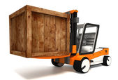 Fork lifter transporting wooden crate — Stock Photo