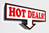 Hot deals red and black arrow sign — Stock Photo
