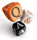 Questions and answers orange black dice blocks — Stock Photo