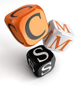 Cms orange black dice blocks — Stock Photo