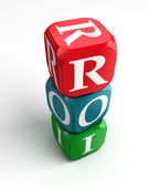 Roi on red, green and blue dice — Stockfoto