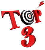 Top 3 red word with target — Stock Photo