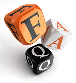 Faq orange black dice blocks — Stock Photo