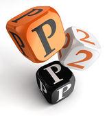 P2p orange black dice blocks — Stock Photo