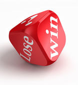 Win lose question mark red dice — Stock Photo