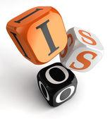 Iso orange black dice blocks — Stock Photo